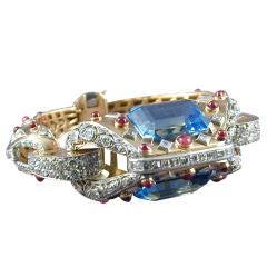 Superb Retro Aquamarine Diamond Ruby Gold Bracelet