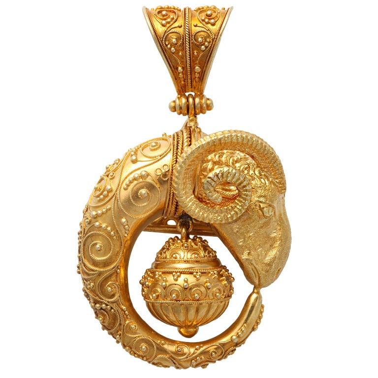 Etruscan Revival Ram S Head Brooch Pendant At 1stdibs