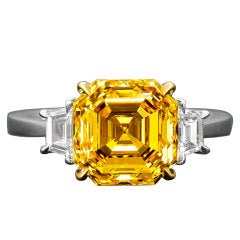 Natural Fancy Vivid Yellow Asscher Cut Diamond Ring
