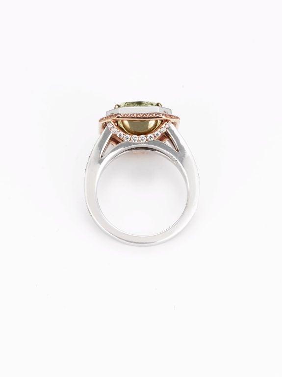 Natural Green Pink Diamond Ring 2