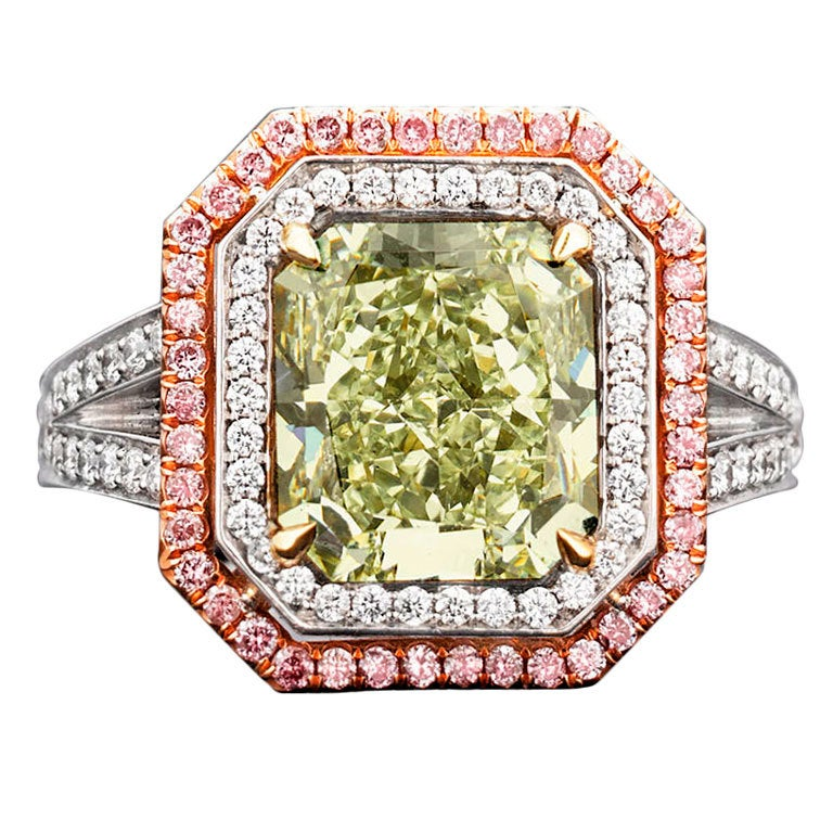Natural Green Pink Diamond Ring 1