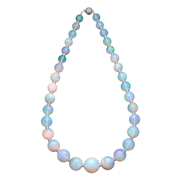 extraordinary graduated opal bead necklace