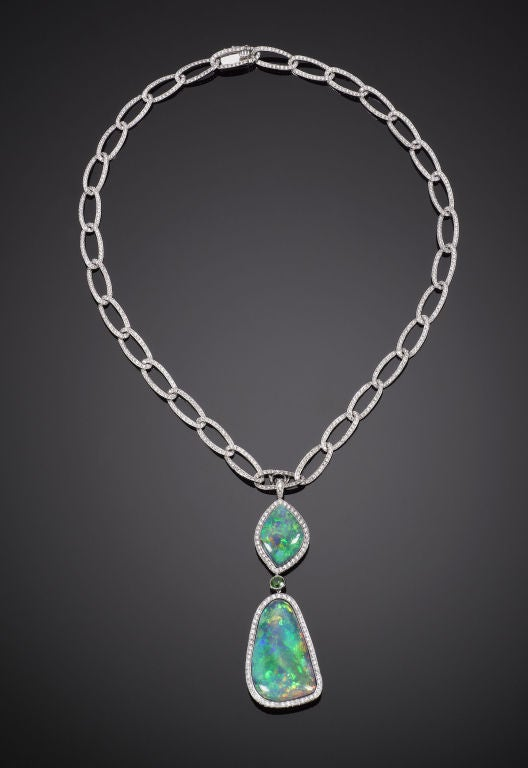 magnificent black opal and necklace at 1stdibs