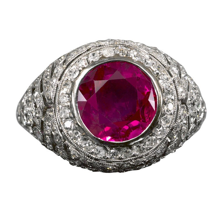 Custom Burma Ruby Ring: Edwardian Burma Ruby Ring At 1stdibs