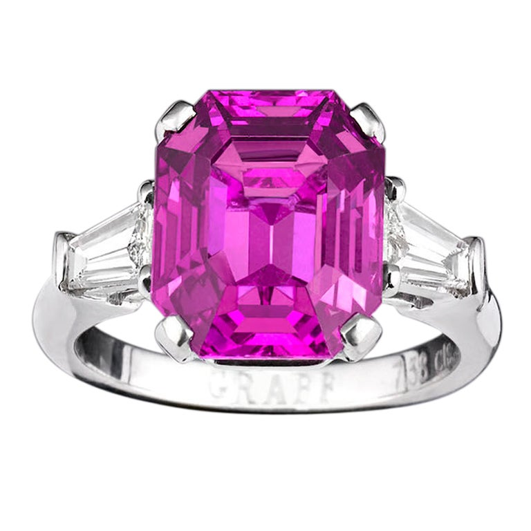 Graff Natural Pink Sapphire Ring, 7.38 Carats at 1stdibs