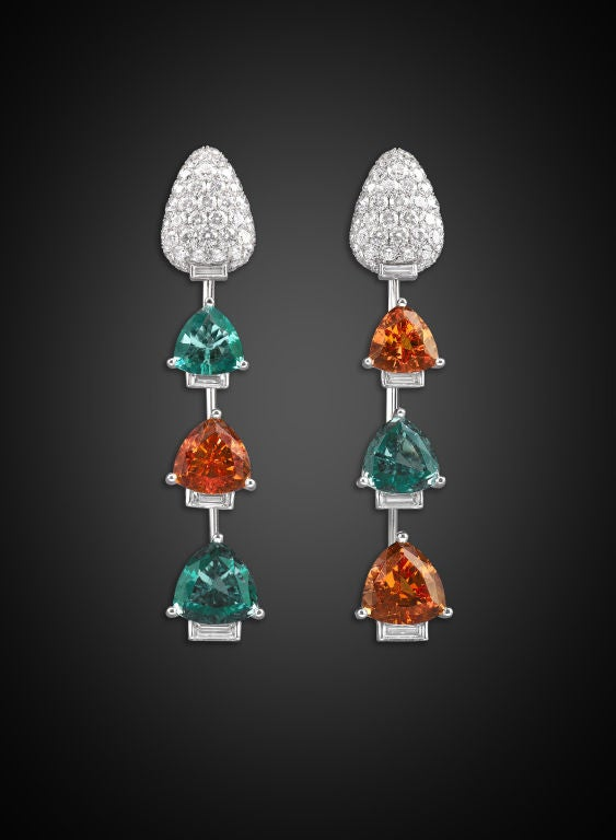 Paraiba Tourmaline, Mandarin Garnet & Diamond Earrings 2
