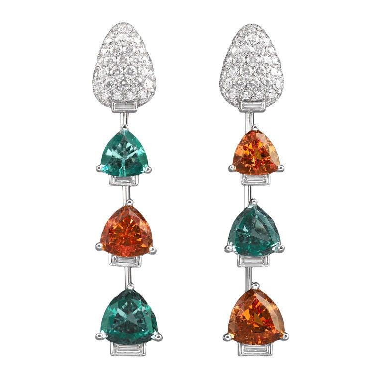 Paraiba Tourmaline, Mandarin Garnet & Diamond Earrings 1