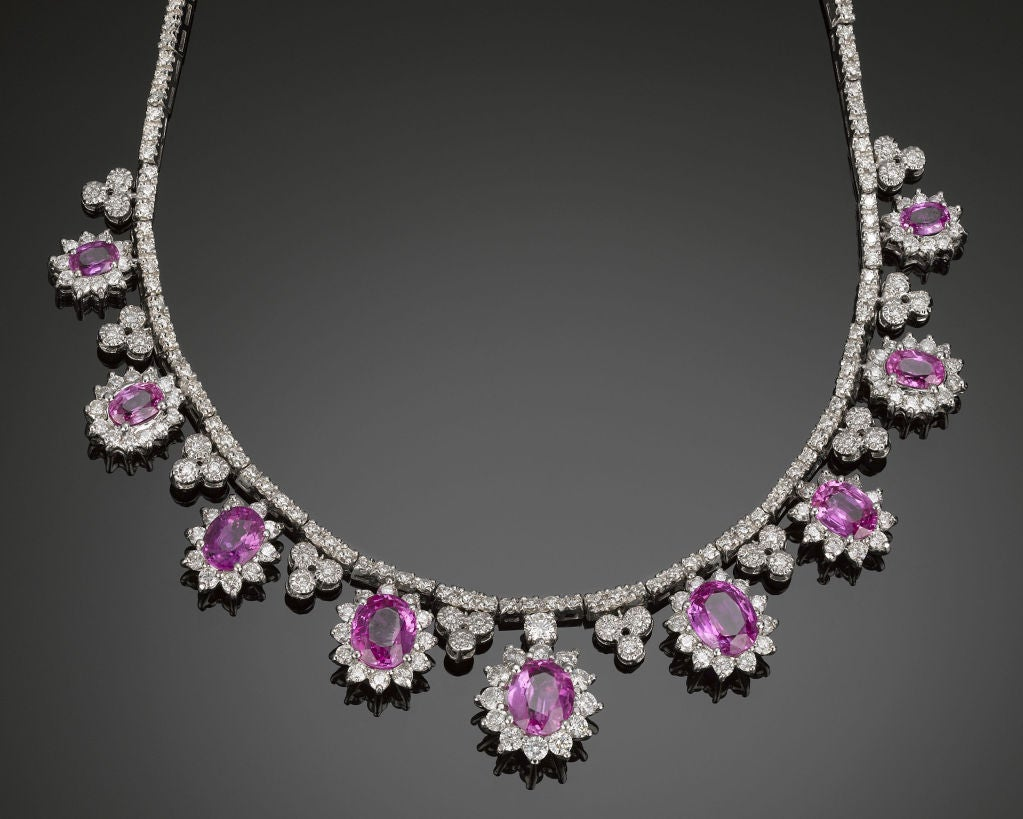 pink sapphire and diamond necklace at 1stdibs