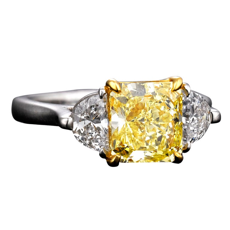 Natural Fancy Yellow Diamond Ring, 2.39 Carats 1
