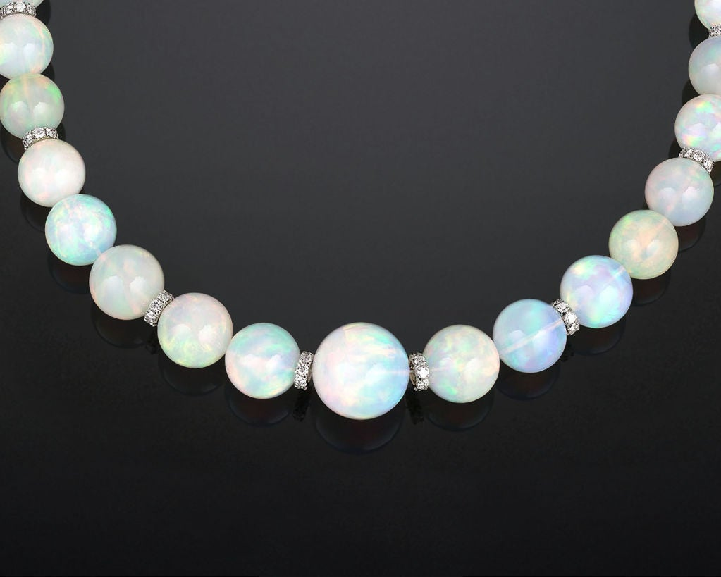 Graduated Opal Bead Necklace image 2