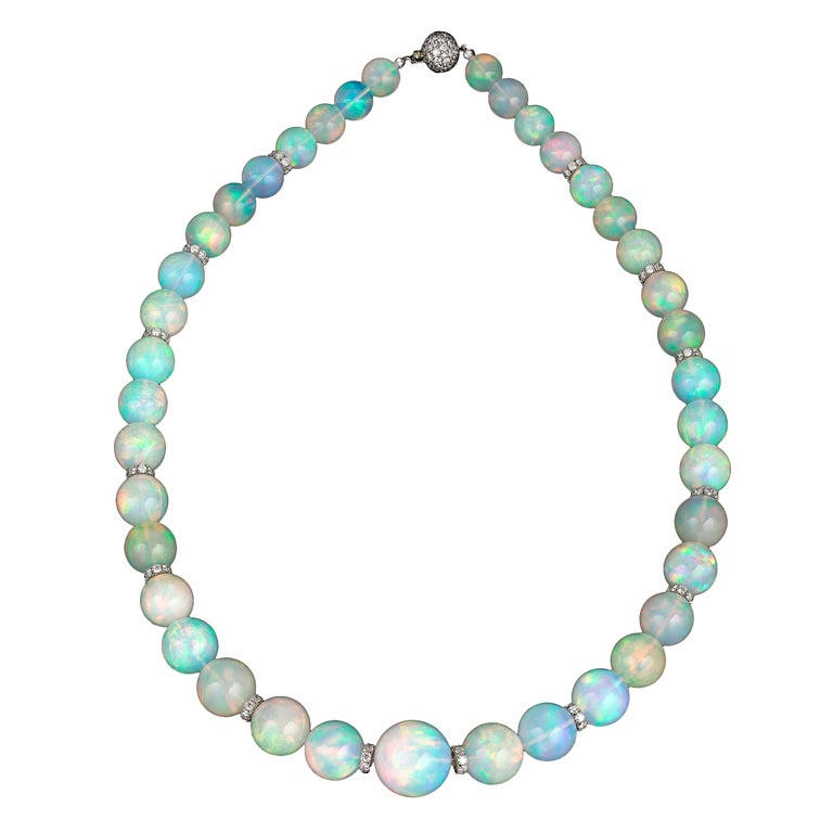 Graduated Opal Bead Necklace 1