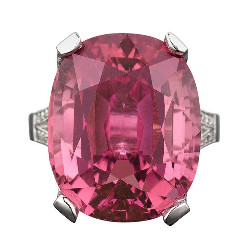 Pink Tourmaline & Diamond Ring For Sale