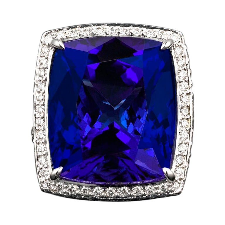 Cushion Shaped Tanzanite And Diamond Ring At 1stdibs