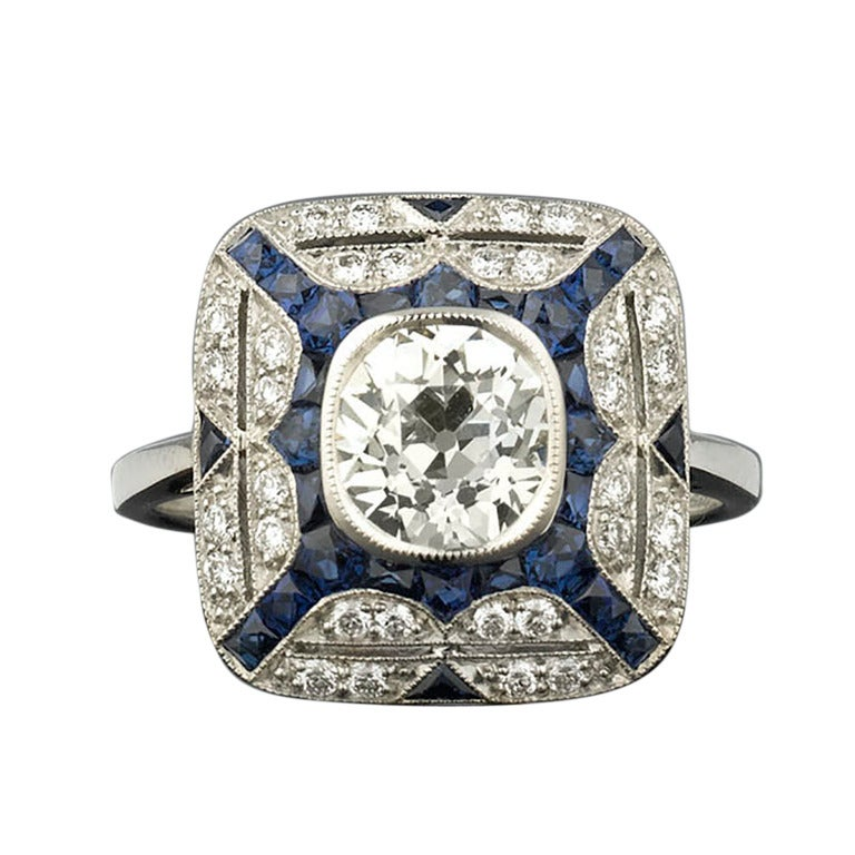Elegant Diamond And Calibre Cut Sapphire Ring At 1stdibs