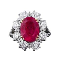Untreated Burma Ruby Ring, 6.58 Carats