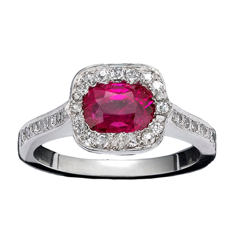 Custom Burma Ruby Ring: Burmese Ruby And Diamond Ring For Sale At 1stdibs