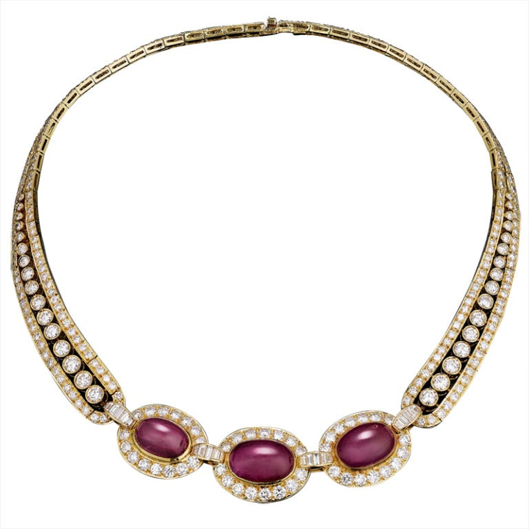 Van Cleef And Arpels Ruby Diamond Necklace At 1stdibs