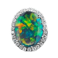 Black Opal and Diamond Ring 9.10 Carats