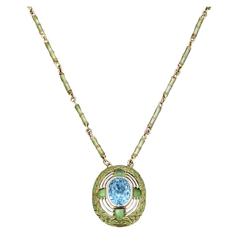 Tiffany Studios Aquamarine Necklace at 1stdibs
