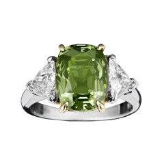 Natural Alexandrite Diamond Gold Platinum Ring 4.14 Carat