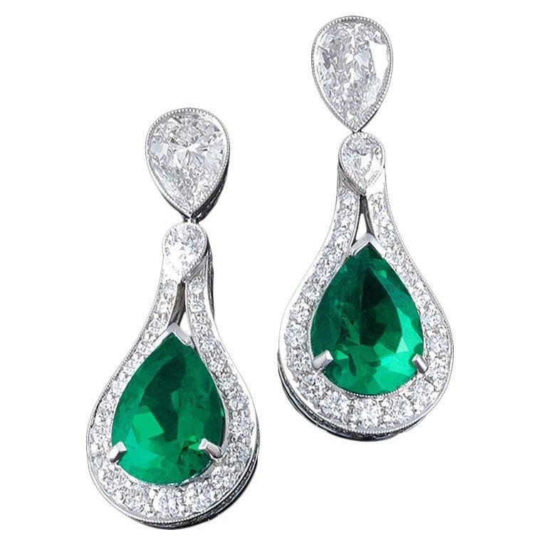 Colombian Emerald & Diamond Earrings 1