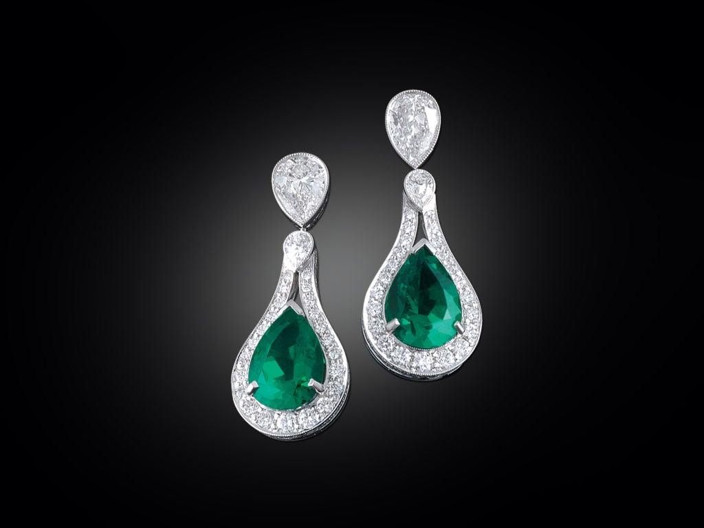 Colombian Emerald & Diamond Earrings 2