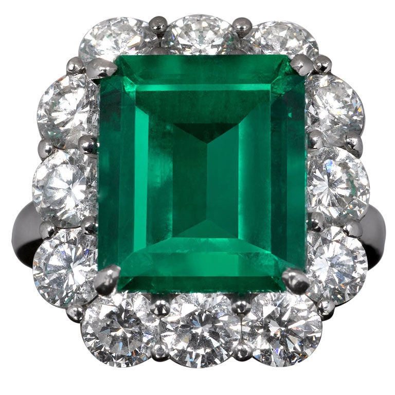 Colombian Emerald And Diamond Ring At 1stdibs