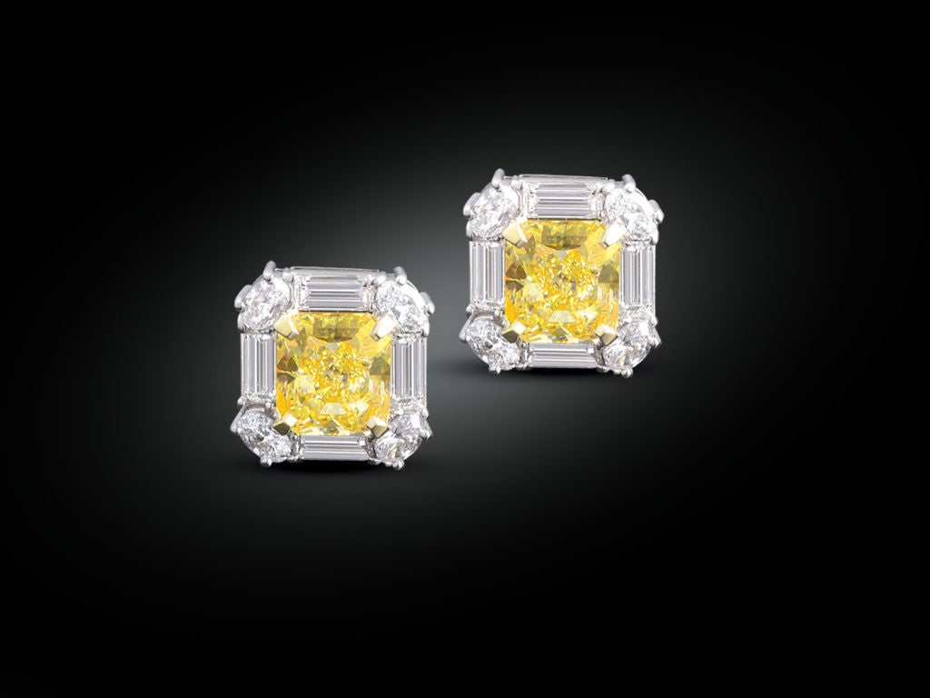 Fancy Yellow Diamond Earrings at 1stdibs Yellow Diamond Stud Earrings