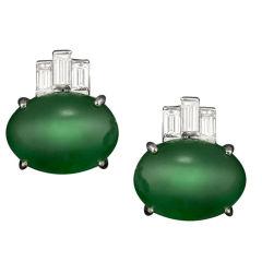 Imperial Jadeite Earrings & Diamond Earrings