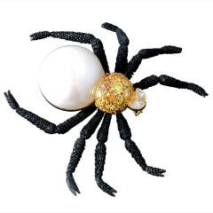 Natural Pearl & Colored Diamond Spider Brooch