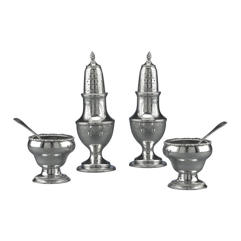 Early American Silver Salt and Pepper Service For Sale