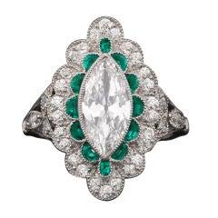 Art Deco Golconda Diamond and Emerald Ring
