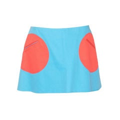 Stephen Sprouse Blue Mini Skirt with Red Pockets