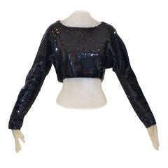 Stephen Sprouse Black Sequin Crop Top