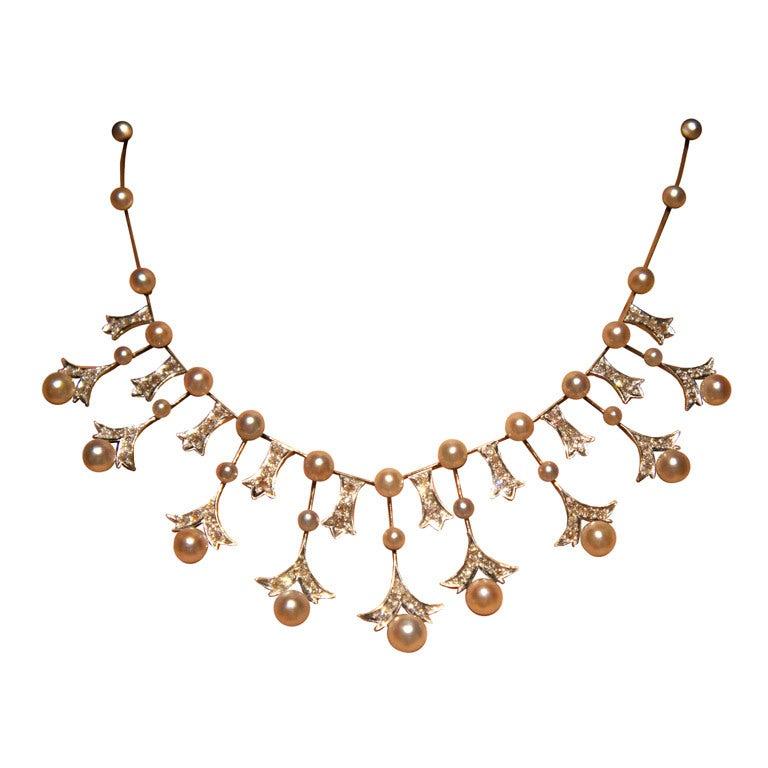 Antique Mikimoto Pearl Diamond Necklace In Original Box At
