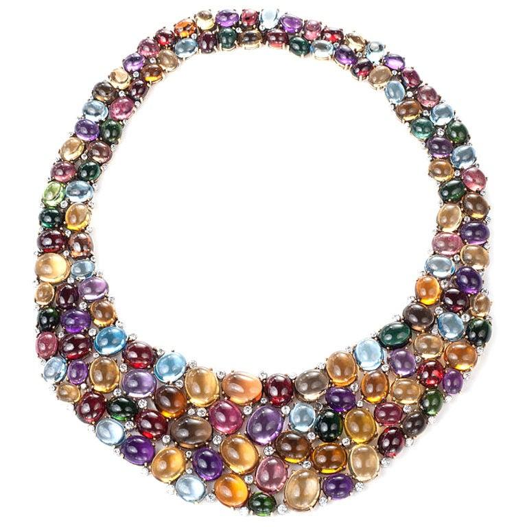 Multi Color Cabochon Gem Necklace At 1stdibs