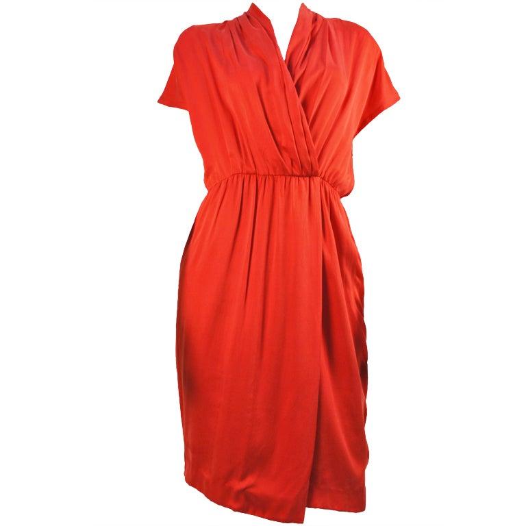 Vintage Chloe Deep Coral Silk Wrap Dress Karl Lagerfeld