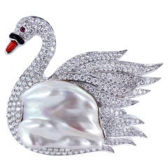 Charming Diamond Swan Pin