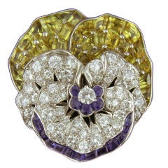 Oscar Heyman Collection for Shreve, Crump & Low Gem Set Gold Platinum Pansy Pin