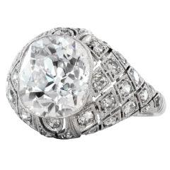 Art Deco 5.00 Carat Diamond Platinum Engagement Ring
