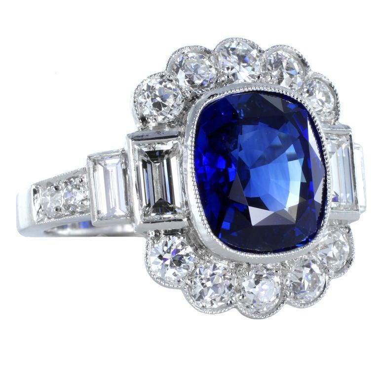 Sapphire Diamond Platinum Cluster Ring