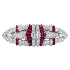 Art Deco  Ruby  Diamond Platinum Clip Brooch
