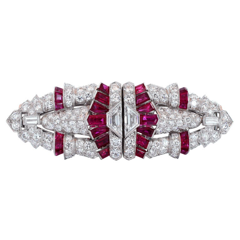 Art Deco  Ruby  Diamond Platinum Clip Brooch