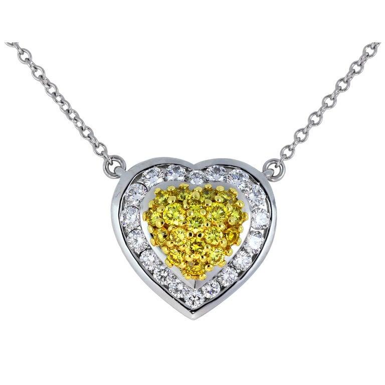 yellow diamond heart necklace - photo #3
