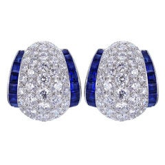 Oscar Heyman Sapphire Diamond Platinum Earrings