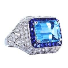 3.04 Carat Aquamarine and 2.00 Carat Sapphire Diamond Ring