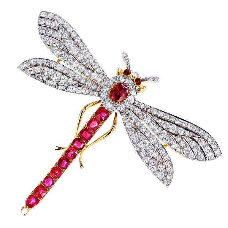 Ruby Diamond Dragonfly Pin
