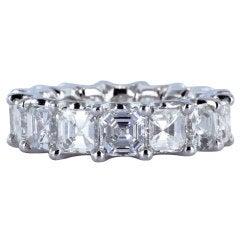 7.84 Carat Asscher Cut Diamond Eternity Band Ring