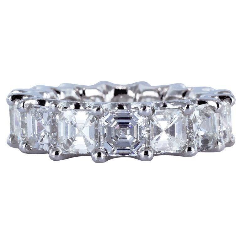 7.84 Carat Asscher Cut Diamond Eternity Band Ring For Sale