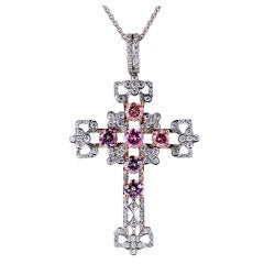 2.49 Carat Natural Pink Diamond Cross Pendant
